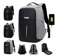 "Anti-Theft Waterproof Laptop Backpack External USB Charge Port 15"" School Bag"