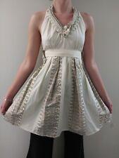 SEXY HALTER APRON NWT ANTHROPOLOGIE 100% cotton BEIGE LACE BEAUTIFUL DRESS APRON