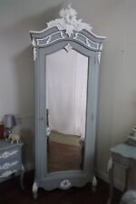 French Rococo Single Armoire Wardrobe In Mercury Grey - Mirrored Single Wardrobe
