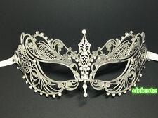 Elegant Silver Metal Filigree Venetian Masquerade Party Prom Mask w/Rhinestones