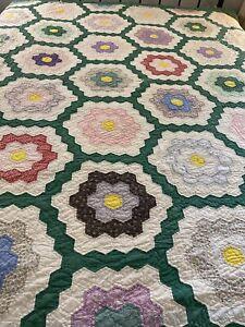 Vintage Handmade Hand Quilted Grandmother's Flower Garden Quilt 76x82 full #49
