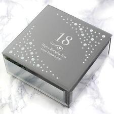 Personalizado Grabado de lujo con Espejo Joyas Caja de la Baratija Regalo De Cumpleaños