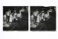 Damas Syrie scène de rue Bazar Plaque stéréo Vintage 6x13 cm