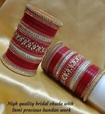 Indian Rajwadi Style Semi Precious Kundan Chura Bangle Bridal Set Gold Wedding