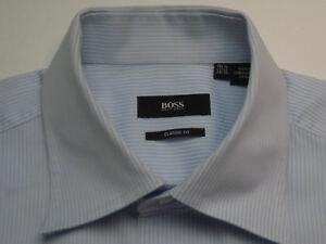 Hugo Boss Men's 15 1/2-34/35 Long Sleeve Blue Striped 100% Cotton Shirt 6327
