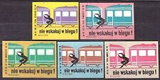 POLAND 1969 Matchbox Label - Cat.Z#955 set, Road safety do not jump in the train