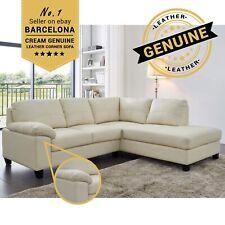BARCELONA Cream Genuine Real Leather Corner Sofa