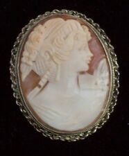 Vintage Jewellery Italian Carved Shell Cameo H/M Silver Figural Lady Brooch/Pin