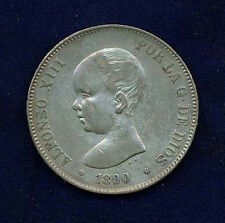 SPAIN  ALFONSO XIII 1890(90)-PGM  5 PESETAS SILVER COIN, XF