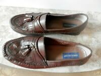 Giorgio Brutini Men's Brown Leather Loafers Basket Weave Top & Tassels- Size 13M