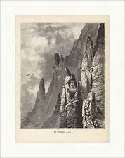Der Adlerhorst Brzozowski Alpen Hochgebirge Felsen Holzstich Jagdzeitung 0113