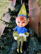 VINTAGE RARE ELF/PIXIE FAT CHEEKS & POINTED EARS GOLD LAMA OUTFIT XMAS ORNAMENT