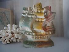 Vintage Chalkware Ship Carnival Prize Pirate Nautical Boat Beach Figure Figurine