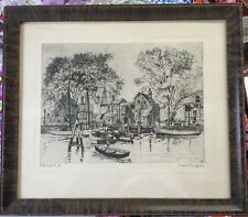 Antique Framed Print Old Red Bank Waterfront with Boats Lionel Barrymore Etching