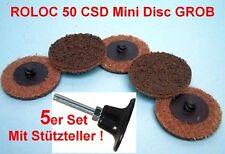 5x ROLOC™ CSD Vlies-Schleifscheiben 50mm GROB Schleifvlies + Stützteller S 6