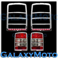 Chrome Taillight Tail Light Trim+Brake Red LED Cover for 08-13 JEEP LIBERTY