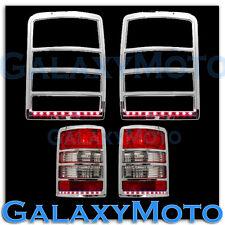 08-13 JEEP LIBERTY Chrome Taillight Tail Light Trim+Brake Red LED Bezel Cover