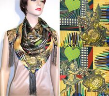 "CHRISTIAN LACROIX yellow ANGELS Celestial Charts TASSELS silk 34"" scarf NWT Auth"