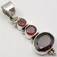 925 Silver NATURAL GARNET LOVELY Pendant 3.5CM JEWELRY