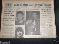 THE BEATLES JOHN LENNON GENUINE DAILY TELEGRAPH COMPLETE UK NEWSPAPER 10/12/1980