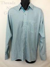 Par Excellence VTG Mens LS Button Up Shirt.White w Teal & Gray Stripes. Size XL