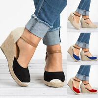 Women Ankle Strap Buckle Sandals Ladies Wedge Platform Heels Espadrilles Shoes