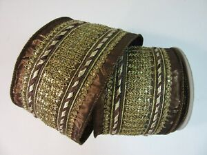 "Brown Gold Royalty Luxe Wire Edge Ribbon, Farrisilk, 4"", Christmas Wreaths, Bow"