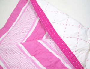 Pottery Barn Kids Pink Callie Spring Stripe Reversible Full Queen Quilt Stains
