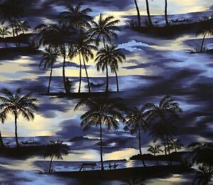 "Hawaiian Print Fabric BTY - Beach Sunset Theme - 43"" wide"