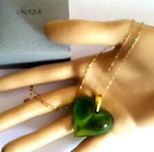 PENDANT  LALIQUE GORGEOUS FRESH GREEN CRYSTAL HEART SOLID 9CT GOLD -STUNNING