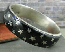 Vintage Silver and Black Enamel Star Bangle Bracelet
