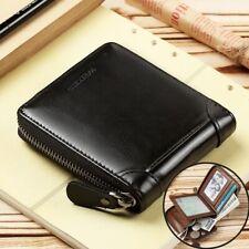 Men's Genuine Leather Bifold Zip-around Wallet Small Short Coin Wallet