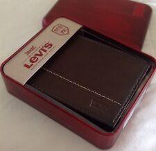 Levi's Men's Brown Tan Leather Bifold Wallet Logo