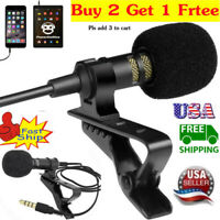 US Mini Lavalier Mic Microphone For Cell Phone PC Recording 3.5mm Clip-on Lapel