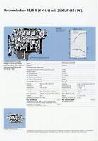 Mercedes 3535 B 8x4/4 Betonmischer Prospekt Technische Daten Datenblatt Lkw data