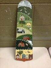 Nan Risser 1987 Hand Painted Ceiling Fan Blade Amish Prairie Town Country Living
