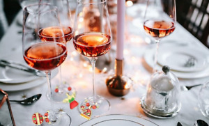 Set of Six Christmas Wine Glasses Rings