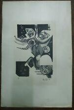 ANCIENNE encre sérigraphique  de Alain Azad datée de 1959 N° 4/5