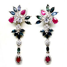 NATURAL HEATED BLUE SAPPHIRE, RUBY & CZ 925 STERLING SILVER EARRINGS