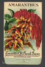 AMARANTHUS, Mixed, Everitt's Antique Seed Packet, Kitchen Decor, 198