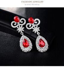 Red Vintage Crystal Bridal Chandelier Earrings Red Zirconia Crystal Earrings