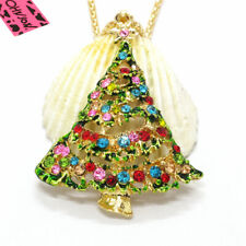 Hot Colorful Cute Christmas Tree Crystal Betsey Johnson Pendant Women Necklace