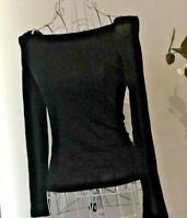 Women's Top Black Long Sleeves Stretch BNWT Sz 6Au Off /Cold Shoulder