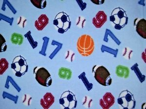 Beansprout Baby Boy SPORTS Blanket Blue Lovey Numbers Soccer Football Baseball