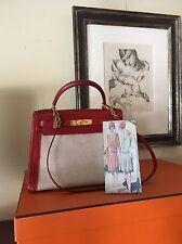 Original Seltene Hermes Vintage Kelly Bag rot / Leinen Schloss