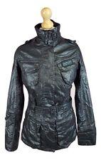 #968 Barbour Ladies Tartan Black Duralinen International Belted Zip Jacket, UK 8