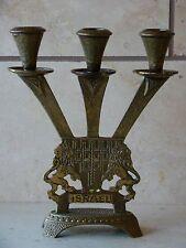"Vintage Tamar Brass Judaica Shabbat 3 Candle Sticks Candle Holder 8 1/2""Tall"