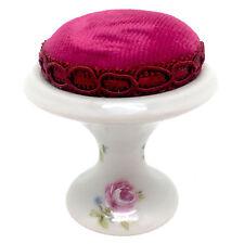 """Vintage Limoges France Pin Cushion Rose Design 2.25"""" NEW"""