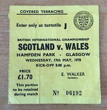 Scotland v Wales Football Ticket Hampden Park 17/5/1978 (1977/1978)