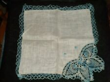 Vintage Hand Crochet Blue Butterfly Handkerchief ~ Unused